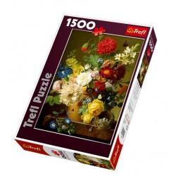 Trefl - 26120 - Puzzle 1500 - Martwa Natura z Kwiatami na Marmurowej Półce - Jan Frans van Dael