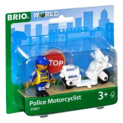 BRIO Drewniana Kolejka Zestaw Uzupełniający MOTOCYKL POLICYJNY 33861