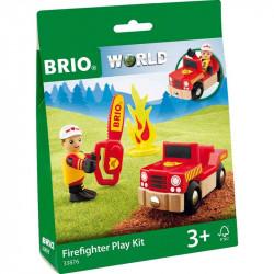 BRIO Drewniana Kolejka Zestaw Uzupełniający Mały Zestaw Strażacki 33876