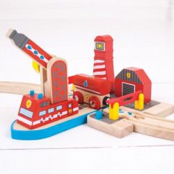 Bigjigs Toys Zestaw do Kolejek Drewnianych STATEK POŻARNICZY BJT261
