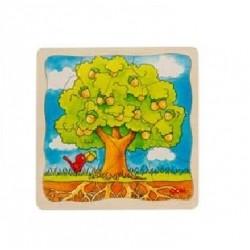 Goki - 57522 - Puzzle Drewniane 44 - Puzzle Warstwowe - Dąb