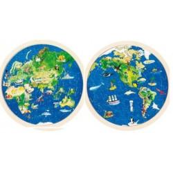 Goki - 57666 - Puzzle Drewniane Dwustronne 57 - Planeta Ziemia