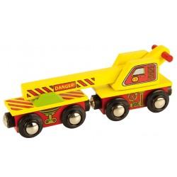 Bigjigs Toys - BJT416 - Wagon z Dźwigiem - do Kolejek Drewnianych