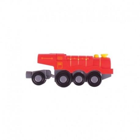 Bigjigs Toys - BJT307 - Czerwona Lokomotywa Parowa - do Kolejek Drewnianych