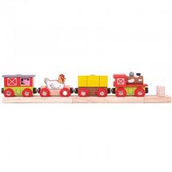 Bigjigs Toys - BJT466 - Pociąg z Farmy - do Kolejek Drewnianych