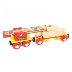 Bigjigs Toys - BJT417 - Wagon z Dźwigiem - do Kolejek Drewnianych