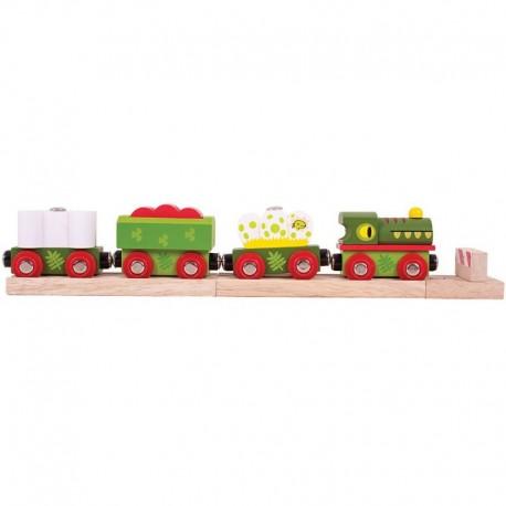 Bigjigs Toys - BJT465 - Pociąg z Dinozaurami - do Kolejek Drewnianych