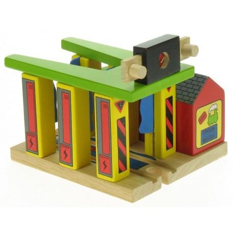 Bigjigs Toys - BJT185 - Myjnia dla Pociągów - do Kolejek Drewnianych