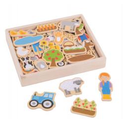 Bigjigs Toys Drewniane Puzzle Magnetyczne FARMA BJ274