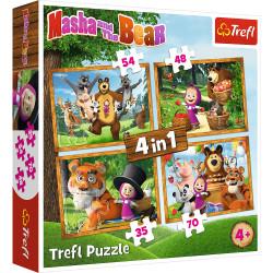 TREFL Puzzle Układanka 4w1 MASZA I PRZYJACIELE 34329