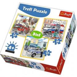 TREFL Puzzle Układanka 3w1 POJAZDY INTERWENCYJNE 34836