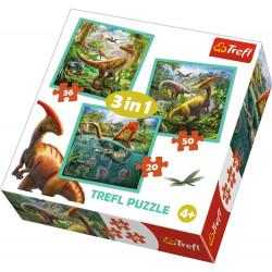 TREFL Puzzle Układanka 3w1 DINOZAURY 34837