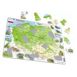 LARSEN Puzzle MAPA FIZYCZNA POLSKI ze Zwierzątkami 21985
