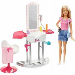 MATTEL Lalka Barbie Mebelki Domowe TOALETKA Z AKCESORIAMI FJB36