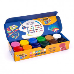 BIC Farby PLAKATOWE 12 Kolorów w Kubeczkach 408042
