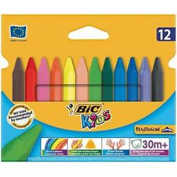 BIC Kredki Kredki Woskowe Trójkątne 12 kolorów 00789