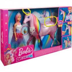 Mattel Lalka Barbie Dreamtopia Lalka Księżniczka z Jednorożcem Magia świateł FXT26