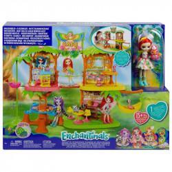 Mattel Lalka Enchantimals Tropikalna Kawiarenka w Dżungli Peeki Parrot GFN59