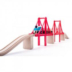 WOODYLAND Kolejka Drewniana Zestaw Most Linowy Podwójny 91817