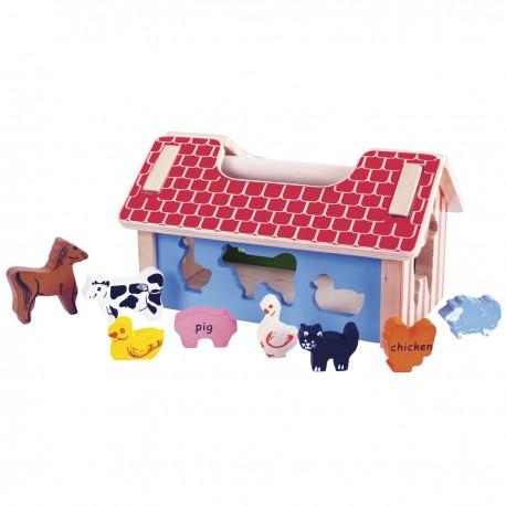Bigjigs Toys - BB064 - Sorter Kształtów - Farma