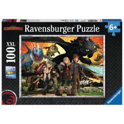 RAVENSBURGER Układanka Puzzle 100 Elementów DRAGONS Jak Wytresować Smoka Dragon i Przyjaciele 109180