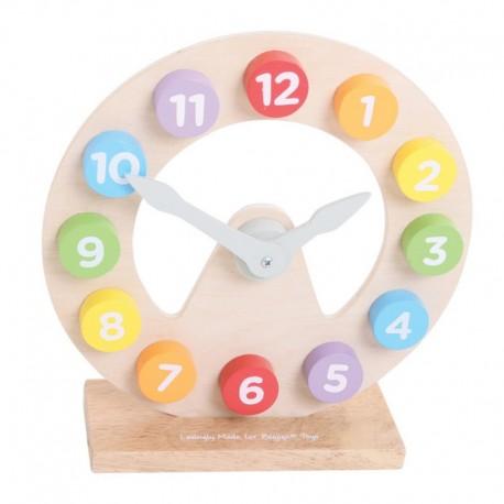 Bigjigs Toys - BJ301 - Drewniany Zegar do Nauki Czasu