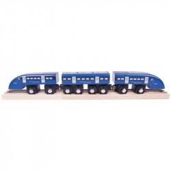 Bigjigs Toys Pociąg z Wagonami HIGH SPEED w Kolorze Niebieskim BJT475