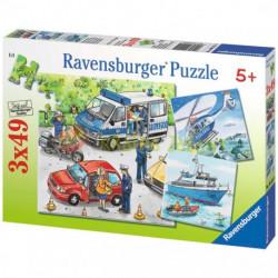 RAVENSBURGER Układanka Puzzle 3w1 POJAZDY Policja w Akcji 092215