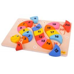 BigJigs Toys - BJ517 - Puzzle 21 - Cyferki - Wąż