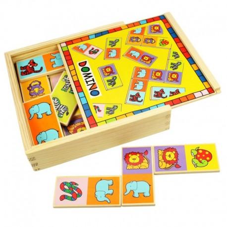 Bigjigs Toys - BJ529 - Gra - Układanka - Drewniane Domino - Zwierzątka