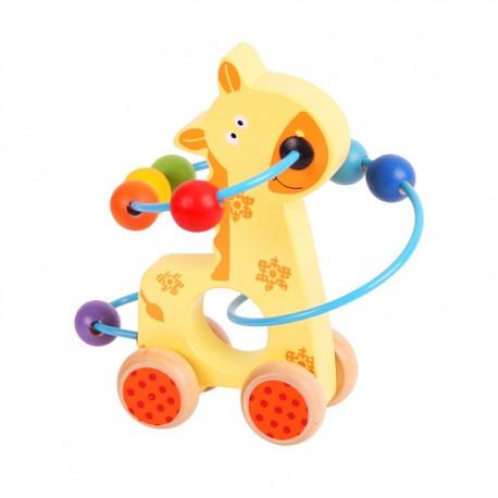 Bigjigs Toys - BB069 - Przekładanka z Żyrafą na Kółkach