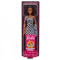 MATTEL Lalka Barbie BRUNETKA SUKIENKA W PASKI 60. ROCZNICA GJF86