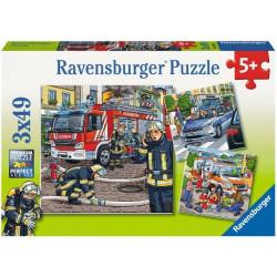 RAVENSBURGER Puzzle 3x49 SŁUŻBY W POTRZEBIE 093359