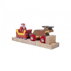 Bigjigs Toys Drewniany Pociąg Lokomotywa SANIE ŚW. MIKOŁAJA Z RENIFEREM BJT468