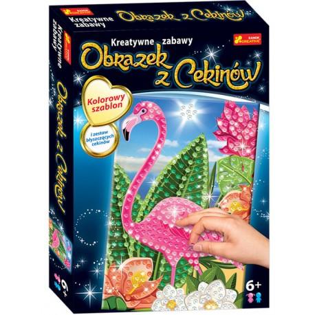 RANOK CREATIVE Kreatywne Zabawy OBRAZEK Z CEKINÓW FLAMING 3909