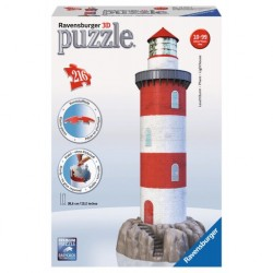 Ravensburger - 12565 - Puzzle 3D - Puzzle 216 - Latarnia Morska