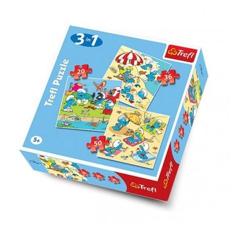 Trefl - 34092 - Puzzle 3 w 1 - Smerfne Harce