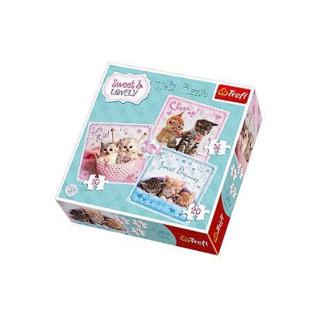 Trefl - 34809 - Puzzle 3 w 1 - Sweet & Lovely - Słodkie Kotki