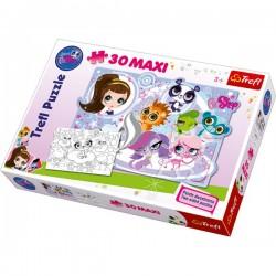 Trefl - 14409 - Puzzle Dwustronne - Puzzle i Malowanka - 30 Maxi - Littlest Pet Shop - Przygody Milusińskich Zwierzątek