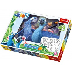 Trefl - 14418 - Puzzle Dwustronne - Puzzle i Malowanka - 30 Maxi - Rio 2