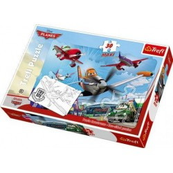 Trefl - 14406 - Puzzle Dwustronne - Puzzle i Malowanka - 30 Maxi - Samoloty - Przygody Dusty'ego