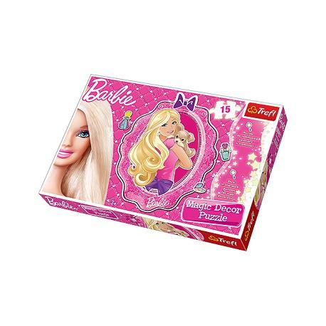 Trefl - 14604 - Puzzle do Naklejania - Świecące w Ciemności - Magic Decor - 15 Elementów - Barbie