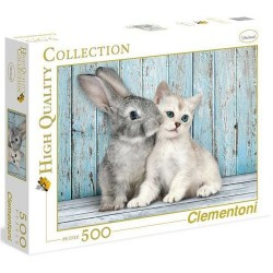 CLEMENTONI Puzzle 500 el. High Quality Collection KOTEK I KRÓLICZEK 35004