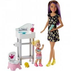 MATTEL Lalka Barbie Opiekunka Skipper z Dzieckiem+Akcesoria FJB01