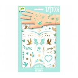 DJECO Zestaw Tatuaży Tatuaże Metaliczne KLEJNOTY LILY 09593