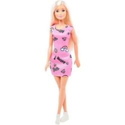 MATTEL Lalka Barbie BLONDYNKA W RÓŻOWEJ SUKIENCE FJF13