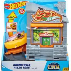 HOT WHEELS Mattel DOWNTOWN PIZZA z Samochodem GBF90