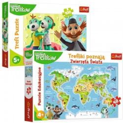 TREFL Trefliki Poznają Zwierzęta Świata + Puzzle 9609