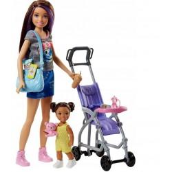 MATTEL Lalka Barbie Opiekunka Skipper z Dzieckiem+Akcesoria FJB00
