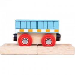 BIGJIGS TOYS Wagon Drewniany NIEBIESKI WAGON BJT483